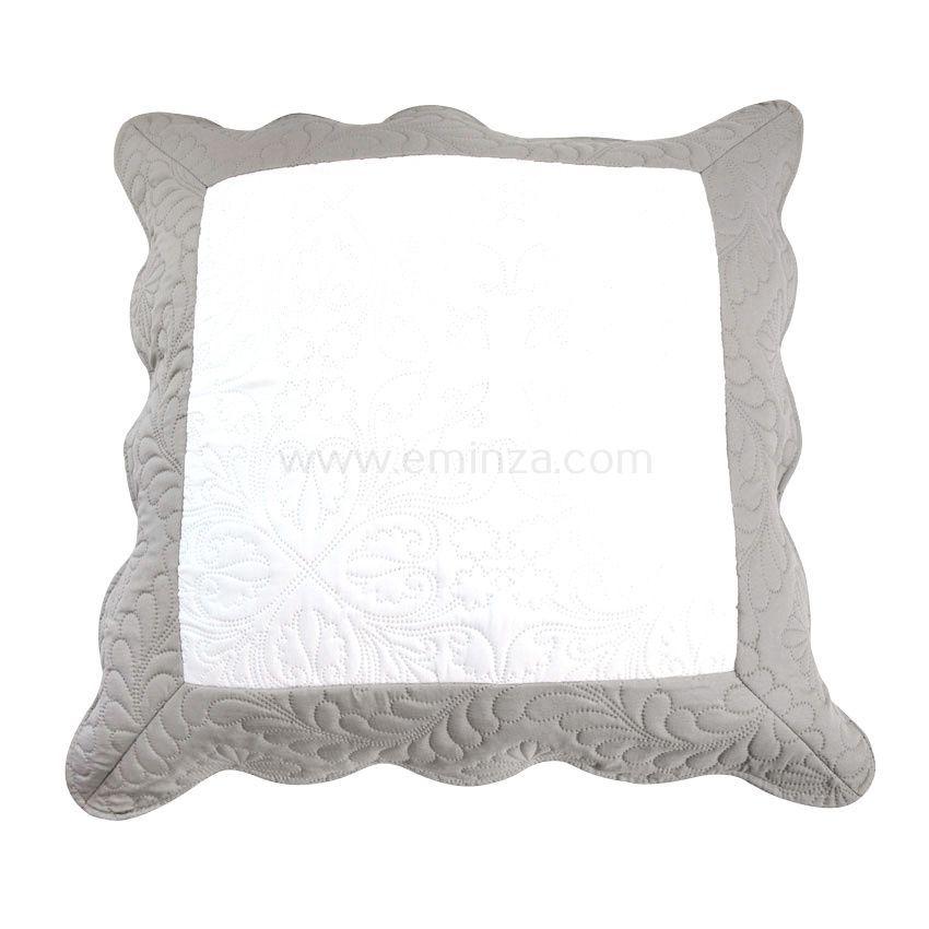 Housse de coussin boutis 60 cm emma gris housse de for Housse de coussin gris