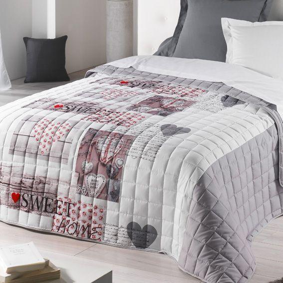 couvre lit 220 x 240 cm matelass sweet home gris couvre lit boutis eminza. Black Bedroom Furniture Sets. Home Design Ideas
