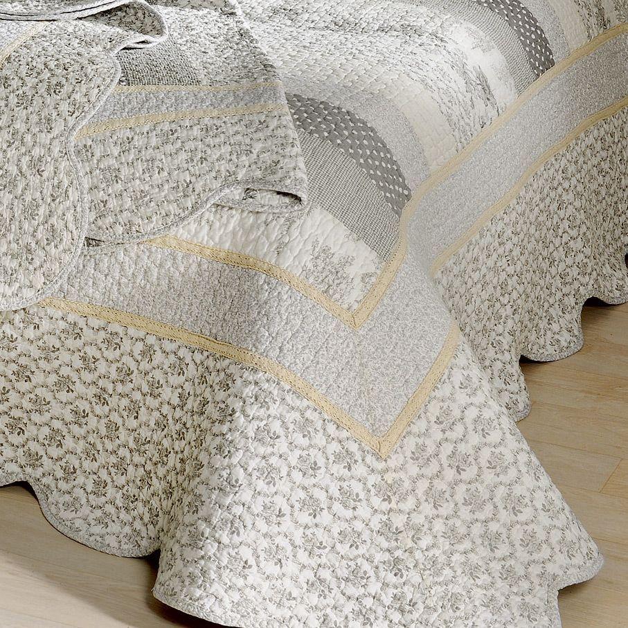 Boutis et taies d 39 oreiller 230 x 250 cm marylou gris for Eurodif linge de maison