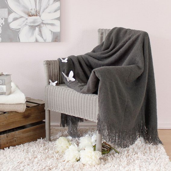 plaid franges effet mohair gris anthracite plaid cocooning eminza. Black Bedroom Furniture Sets. Home Design Ideas