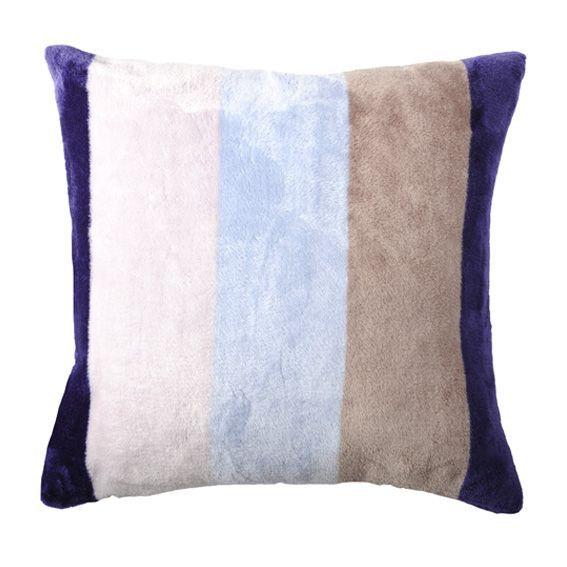 Housse de coussin polaire 60 cm caldo bleu et taupe for Housse coussin 50 x 60