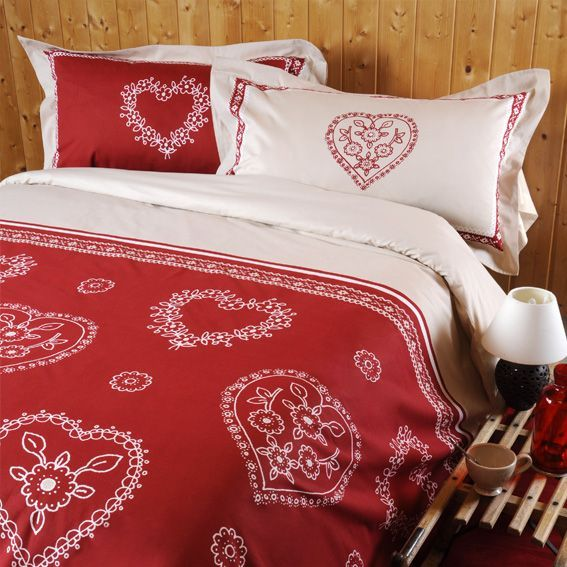 parure de draps 4 pi ces flanelle bussang rouge parure de draps eminza. Black Bedroom Furniture Sets. Home Design Ideas