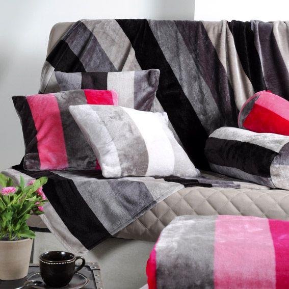 plaid polaire 220 cm caldo taupe plaid cocooning eminza. Black Bedroom Furniture Sets. Home Design Ideas
