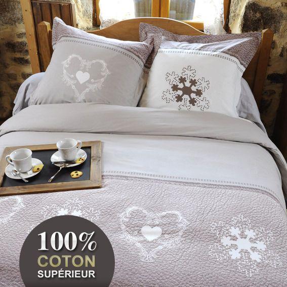 housse de couette et deux taies 260 cm effet cuir lin. Black Bedroom Furniture Sets. Home Design Ideas