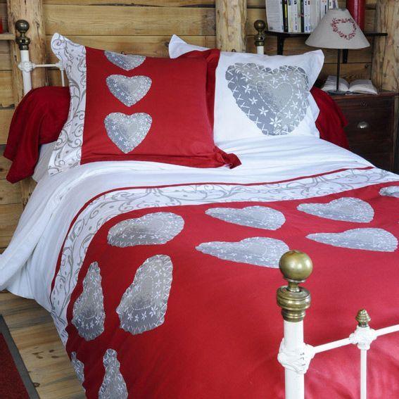 housse de couette et deux taies 260 cm champex rouge housse de couette eminza. Black Bedroom Furniture Sets. Home Design Ideas