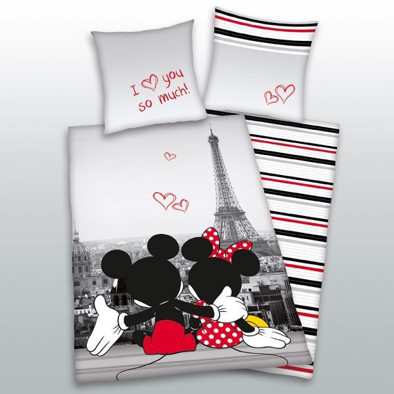 housse de couette et une taie 140 cm mickey minnie. Black Bedroom Furniture Sets. Home Design Ideas