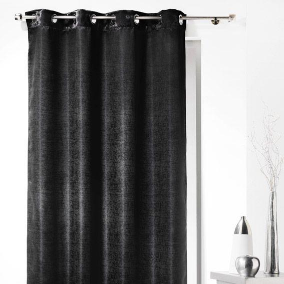 rideau occultant 140 x h240 cm glossy chic noir rideau occultant eminza. Black Bedroom Furniture Sets. Home Design Ideas