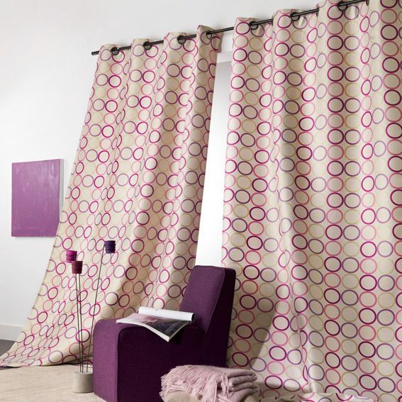 rideau 140 x h280 cm vintage violet rideau tamisant. Black Bedroom Furniture Sets. Home Design Ideas