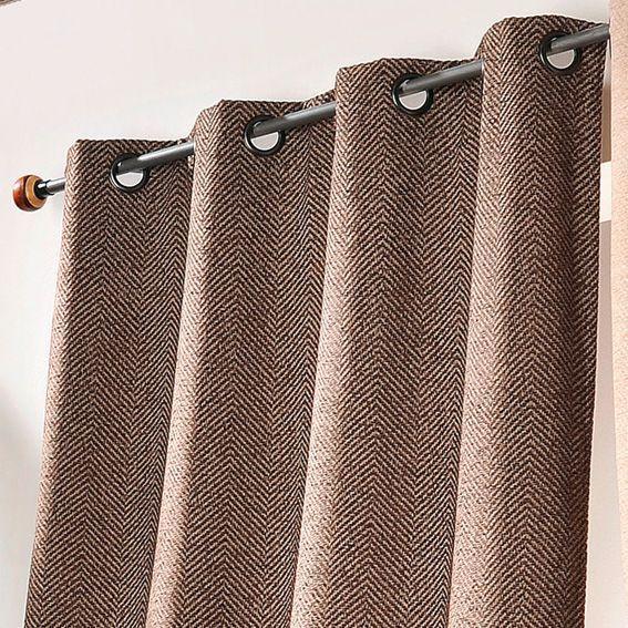 rideau 135 x h260 cm chevron taupe rideau tamisant eminza. Black Bedroom Furniture Sets. Home Design Ideas