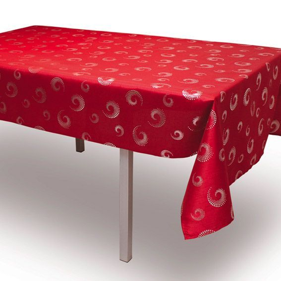 nappe rectangulaire l300 cm spirales rouge nappe de table eminza. Black Bedroom Furniture Sets. Home Design Ideas