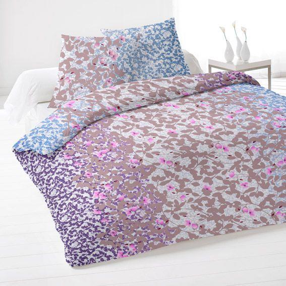 housse de couette et deux taies 240 cm flanelle bouquet bleu housse de couette eminza. Black Bedroom Furniture Sets. Home Design Ideas