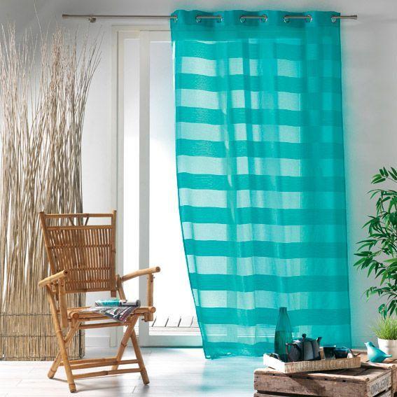 voilage 140 x h240 cm ushuaia turquoise voilage eminza. Black Bedroom Furniture Sets. Home Design Ideas