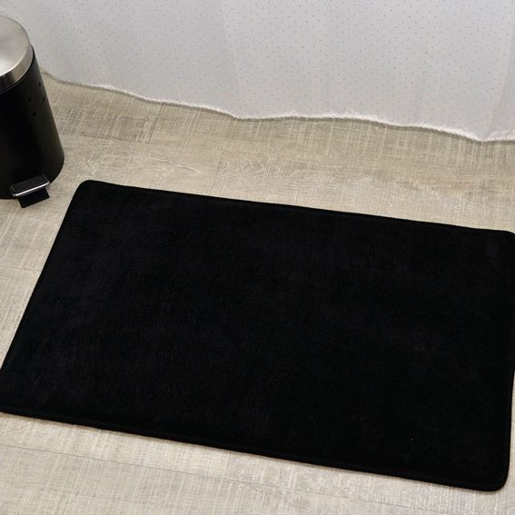 Tapis de bain microfibre simply noir tapis salle de bain - Tapis salle de bain noir ...