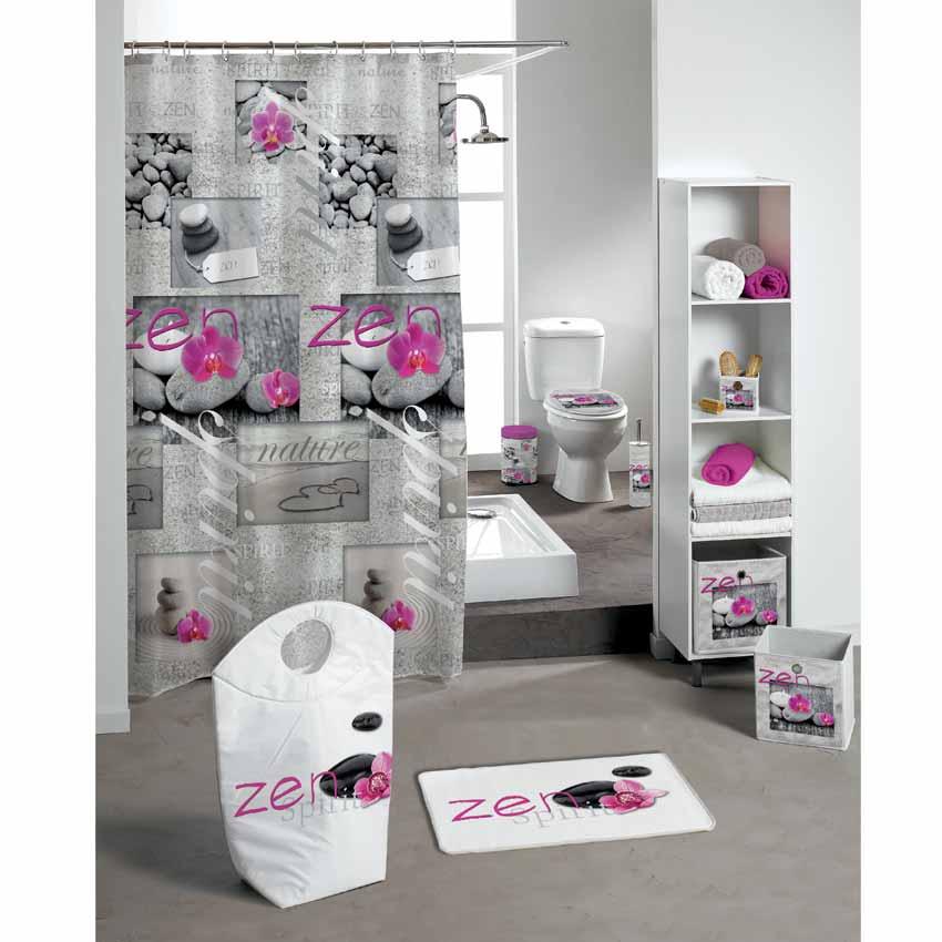 Rideau de douche zen spirit rose premium rideau de for Salle de bain rose