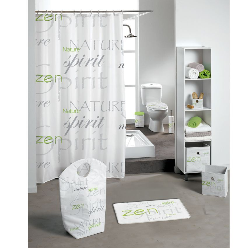 rideau de douche nature zen vert premium rideau de douche eminza. Black Bedroom Furniture Sets. Home Design Ideas