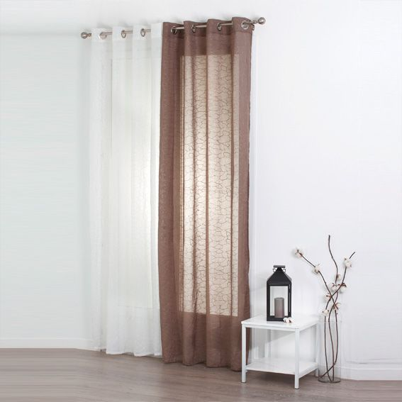 voilage 140 x h240 cm galets brod s taupe voilage eminza. Black Bedroom Furniture Sets. Home Design Ideas