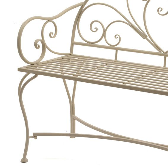 banc de jardin tibaut style fer forg ecru banc de jardin eminza. Black Bedroom Furniture Sets. Home Design Ideas
