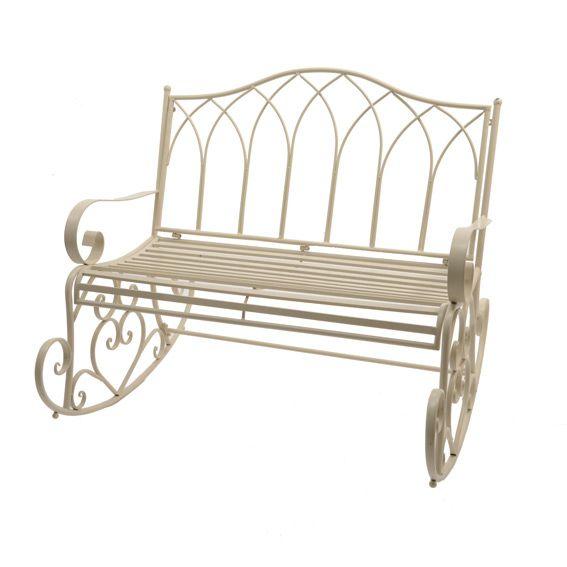 Balancelle marylin style fer forg ecru banc de jardin eminza - Banc fer forge blanc ...