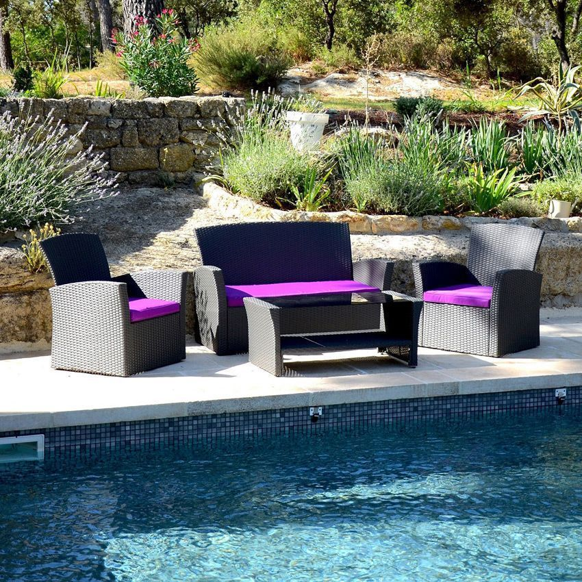 canap de jardin 3 places ibiza anthracite violet. Black Bedroom Furniture Sets. Home Design Ideas