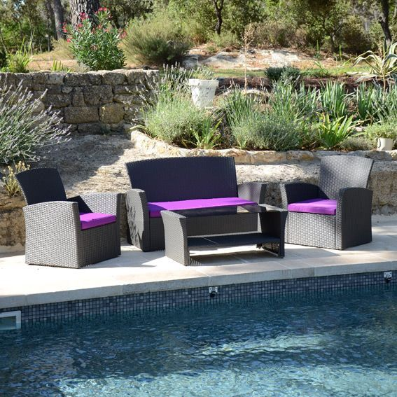 Salon de jardin ibiza anthracite et violet 4 places - Salon detente jardin ...