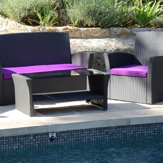 Salon de jardin Ibiza Anthracite et Violet - 4 places - Salon de ...