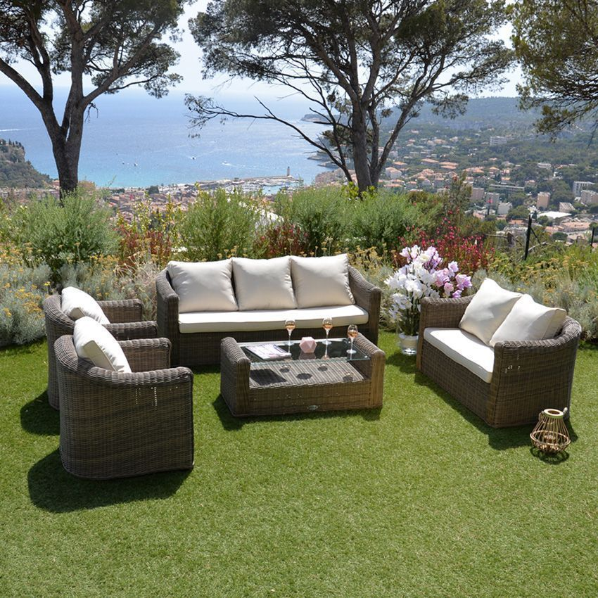canap de jardin 3 places capri sepia ecru salon de. Black Bedroom Furniture Sets. Home Design Ideas