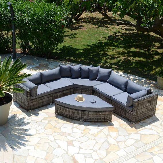 Salon de jardin ribera gris 6 places salon de jardin for Decoration jardin gris
