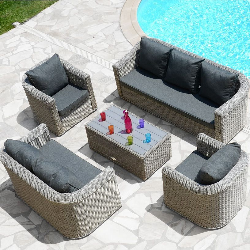 Salon de jardin giglio gris gris anthracite 7 places - Salon detente jardin ...