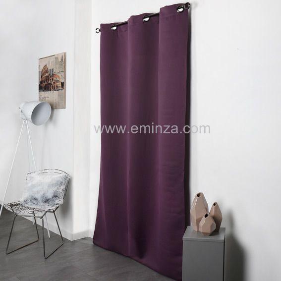 rideau occultant 140 x h250 cm tenya prune rideau occultant eminza. Black Bedroom Furniture Sets. Home Design Ideas