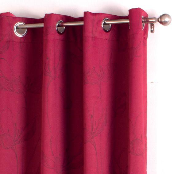rideau occultant 140 x h260 cm fleur rouge rideau occultant eminza. Black Bedroom Furniture Sets. Home Design Ideas