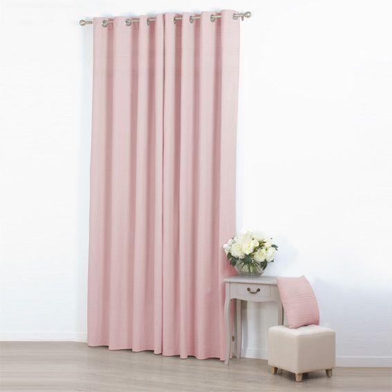 rideau 140 x h260 cm plis rose p le rideau tamisant eminza