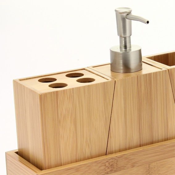Kit d 39 accessoires de salle de bain bois salle de bain for Accessoires de salle de bain