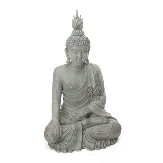 Bouddha assis pierre gris fontaine et bouddha eminza for Decoration jardin bouddha