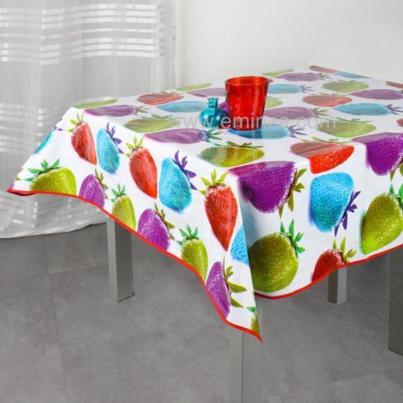 nappe cir e carr e l140 cm fraise multicolore linge de table eminza. Black Bedroom Furniture Sets. Home Design Ideas