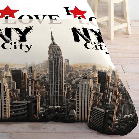 Housse de couette et deux taies 240 cm i love ny city - Housse de couette new york rose ...