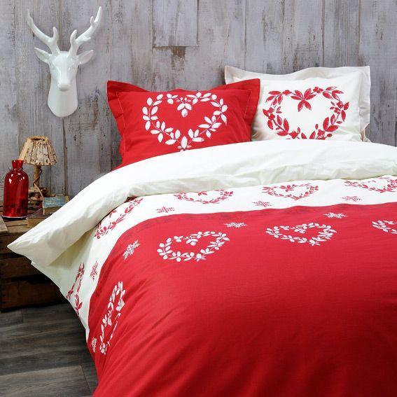 housse de couette et deux taies 140 cm valais rouge housse de couette e. Black Bedroom Furniture Sets. Home Design Ideas