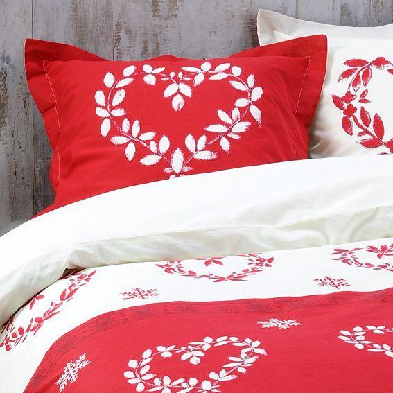 housse de couette et deux taies 140 cm valais rouge housse de couette eminza. Black Bedroom Furniture Sets. Home Design Ideas