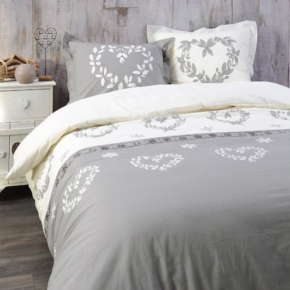 housse de couette et deux taies 260 cm valais taupe housse de couette eminza. Black Bedroom Furniture Sets. Home Design Ideas