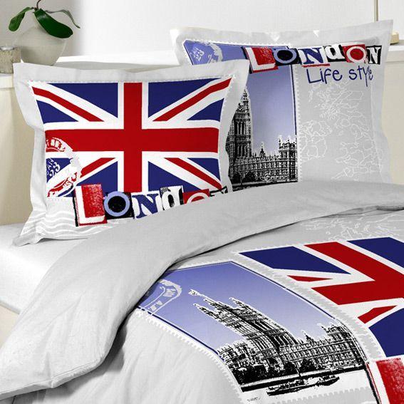 housse de couette et deux taies 240 cm london life. Black Bedroom Furniture Sets. Home Design Ideas