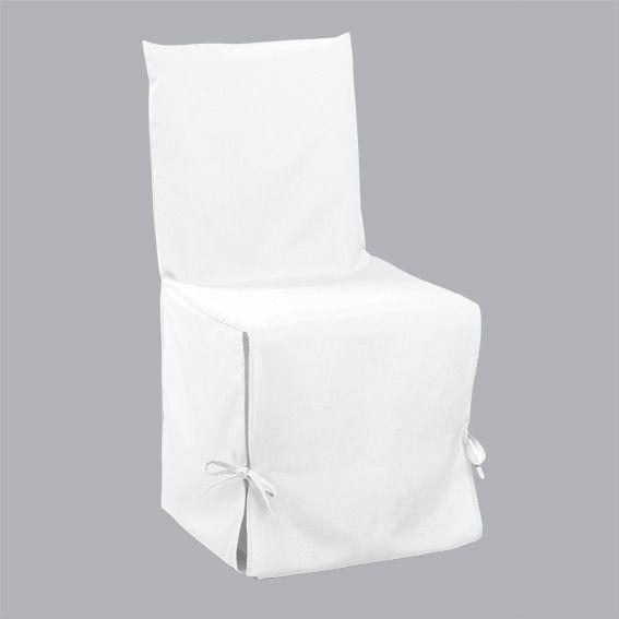 Housse de chaise gamme essentiel blanc housse de chaise for Housse de chaise blanc