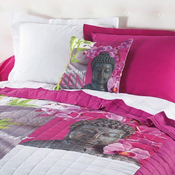 couvre lit 240 x 220 cm matelass douceur zen fuchsia couvre lit boutis eminza. Black Bedroom Furniture Sets. Home Design Ideas