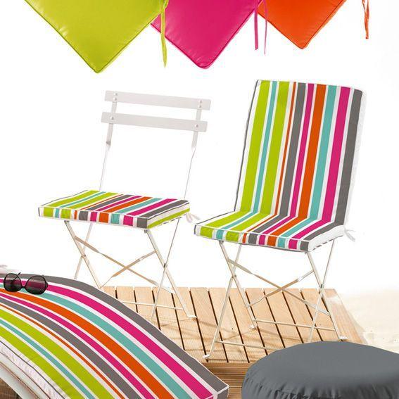 Coussin de chaise rectangulaire sierra multicolore - Galette de chaise rectangulaire ...