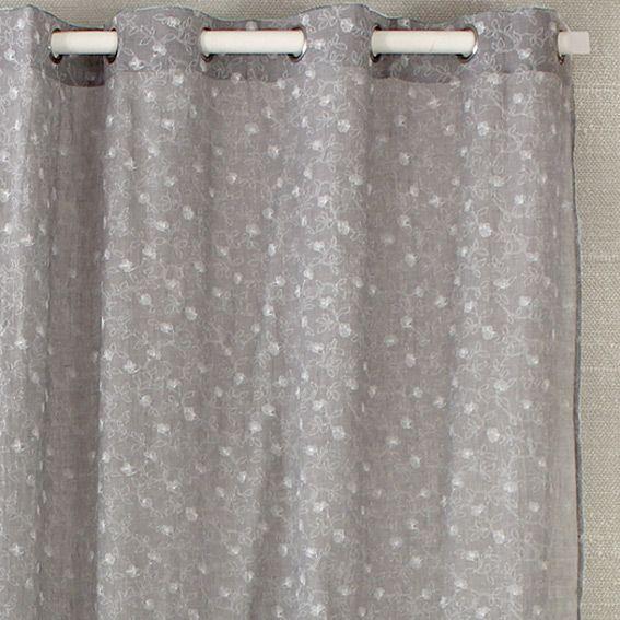 voilage 140 x h240 cm liberty gris voilage eminza. Black Bedroom Furniture Sets. Home Design Ideas