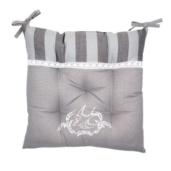 galette de chaise hirondelle chic gris galette et coussin de chaise eminza. Black Bedroom Furniture Sets. Home Design Ideas