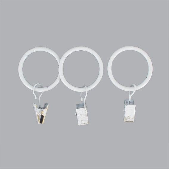 lot de 8 anneaux pince blanc accessoire rideau eminza. Black Bedroom Furniture Sets. Home Design Ideas