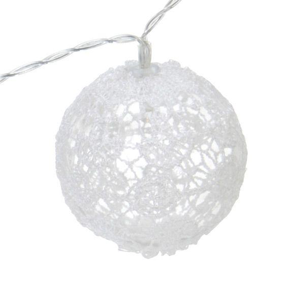 guirlande lumineuse boules de dentelle blanc chaud decoration lumineuse eminza. Black Bedroom Furniture Sets. Home Design Ideas