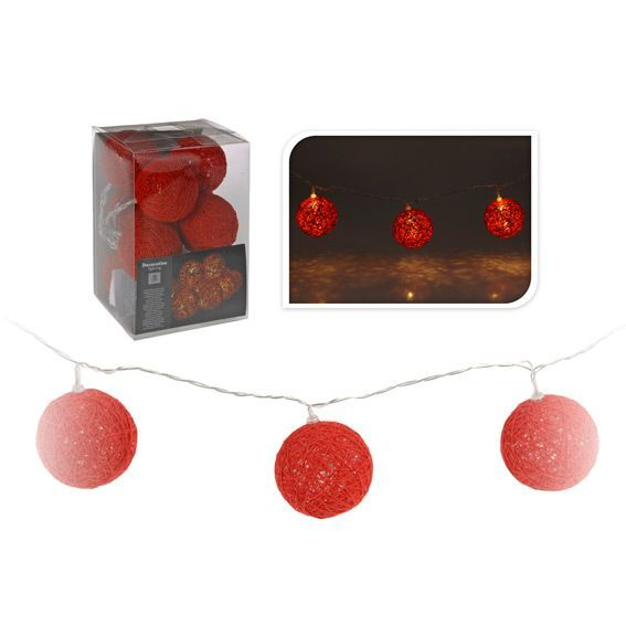 guirlande lumineuse boule raffia rouge 10 led guirlande lumineuse eminza. Black Bedroom Furniture Sets. Home Design Ideas