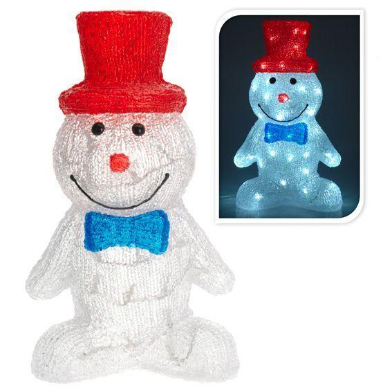 Bonhomme de neige lumineux chapeau blanc froid 60 led - Chapeau bonhomme de neige ...