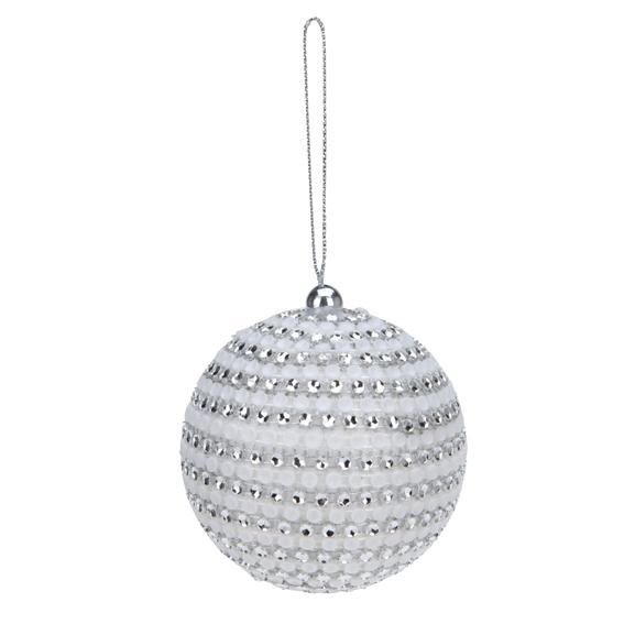 Lot de 4 boules de no l d75 mm mille strass argent boule de no l eminza - Grossiste boule de noel ...