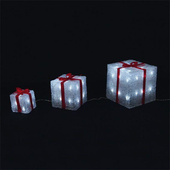 lot de 3 cadeaux lumineux blanc froid 60 led silhouette lumineuse eminza. Black Bedroom Furniture Sets. Home Design Ideas